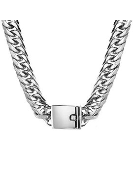 Jxlepe Miami Cuban Link Chain 16mm Big Silver White Stainless Steel Curb Necklace For Men by Jxlepe