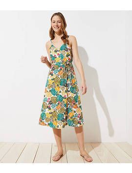 Loft Beach Tropical Wrap Midi Dress by Loft