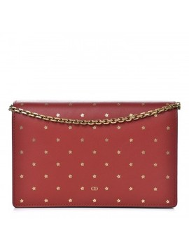 Christian Dior Calfskin Embossed Stars Wallet On Chain Rouge Gold by Christian Dior