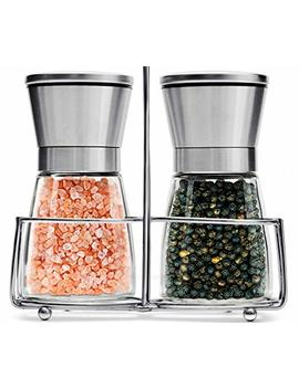 Salt And Pepper Grinder Set With Stand | Best Salt And Pepper Shakers   Adjustable Coarseness & Ceramic Mechanism   Premium Quality Stainless Steel & Glass   Salt And Pepper Mill   Perfect For Kitchen by Qwesen