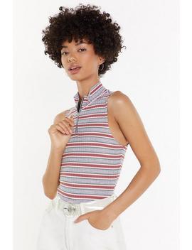 Stripe Rib Zip Up Sleeveless Body by Nasty Gal