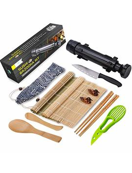 Sushi Making Kit   All In One Sushi Bazooka Maker With Bamboo Mats, Bamboo Chopsticks, Avocado Slicer, Paddle,Spreader,Sushi Knife, Chopsticks Holder, Cotton Bag   Diy Sushi Roller Machine   Black by Kitchen Solo