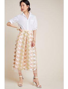 Arabella Embroidered Tulle Midi Skirt by Eva Franco