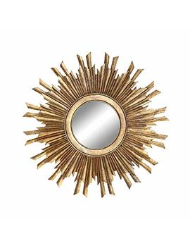Creative Co Op Round Sunburst Mirror With With Gold Finish by Creative Co Op