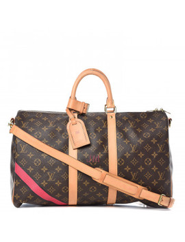 Louis Vuitton Mon Monogram Keepall Bandouliere 45 Fuchsia Black by Louis Vuitton