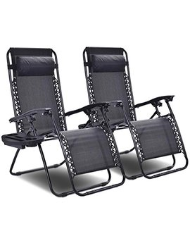 Goplus 2 Pc Zero Gravity Chairs Lounge Patio Folding Recliner Outdoor Yard Beach With Cup Holder (Black) by Goplus