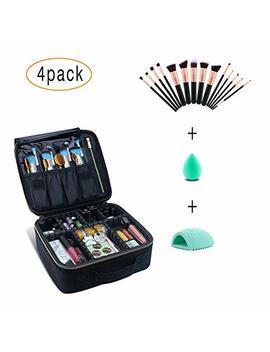 Monstina Makeup Train Cases Set/Include 14pcs Professional Makeup Brush And 1pcs Puff And 1 Pcs Brush Clean Egg (Black S Set) by Monstina