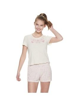 Juniors' Wallflower Sleep Tee &Amp; Pajama Shorts Set by Kohl's