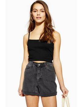 Black Camisole Top With Scallop Straps by Topshop