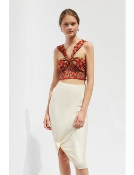 Uo Kiara Smocked Tie Back Cropped Top by Urban Outfitters