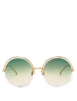 Oversized Round Acetate And Titanium Sunglasses by Linda Farrow