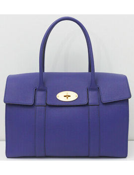 New ~ Mulberry ~ Bayswater Natural Grain Calfskin Indigo Large Tote Handbag Bag by Mulberry