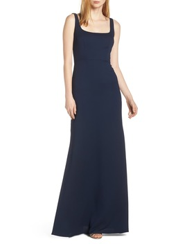 Square Neck Tie Back Crepe Evening Dress by Hayley Paige Occasions