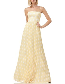 Strapless Polka Dot Pleated Gown by Kay Unger