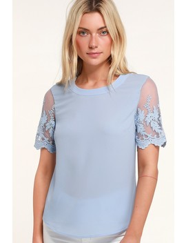 Lisa Marie Dusty Blue Embroidered Top by Lulus