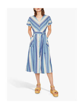 Warehouse Chevron Stripe Midi Dress, Blue/Multi by Warehouse