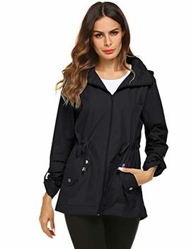 Raincoat Women Waterproof Outdoor Active Mesh Lining Hooded Rain Trench Jacket by Avoogue
