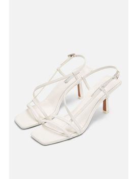 Strippy White Heeled Sandals by Topshop