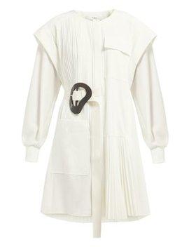 Edith Asymmetric Pleated Mini Dress by Tibi