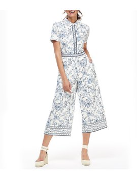 Darla Floral Print Short Sleeve Cropped Jumpsuit by Gal Meets Glam Collection