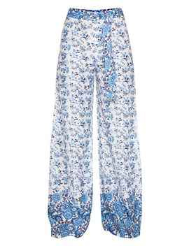 White Woven Paisley Print High Waisted Belted Wide Leg Trouser by Prettylittlething