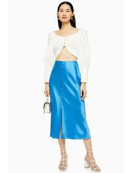 Blue Button Through Satin Bias Skirt by Topshop