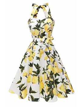 Topdress Women's Vintage Polka Audrey Dress 1950s Halter Retro Cocktail Dress by Topdress