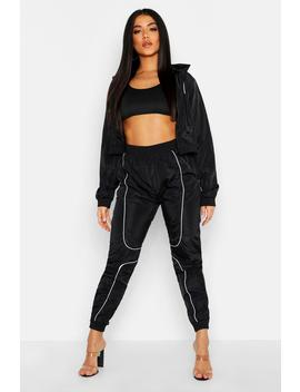 Brushed Shellsuit Piping Detail Tracksuit by Boohoo