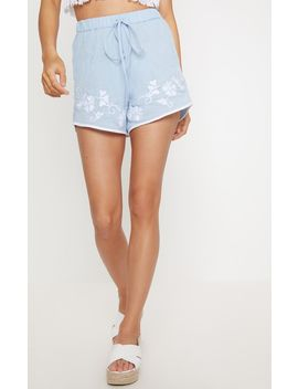 Blue Embroidered Hem Shorts by Prettylittlething