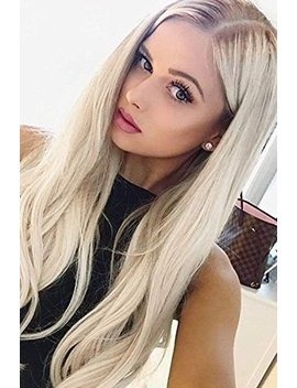 """Alice Lace Front Blonde Ombre Wig, 24"""" Long Straight Middle Part Synthetic Full Wig Fashion Ash Blonde 2 Tones With Brown Roots For Women by Alice"""