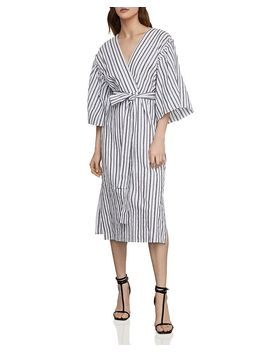 Striped Robe Faux Wrap Dress by Bcbgmaxazria