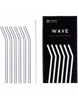 """Wave Premium Curved Glass Straws Set   6 Pack, 9"""" X 10mm by Icosa Living"""