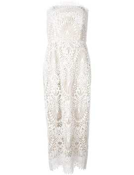 Embroidered Strapless Dress by Badgley Mischka