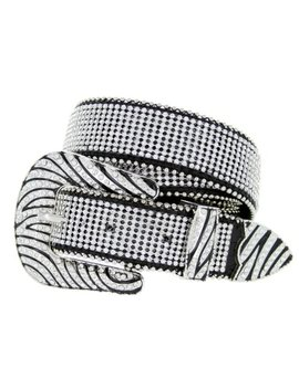 Womens Zebra Rhinestone Bling Bling Western Cowgirl Belt   Black by Belts.Com