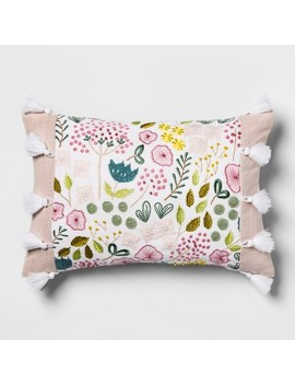 Pink Floral Embroidered Lumbar Pillow   Opalhouse by Opalhouse