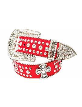 Deal Fashionista Cross Concho Western Rhinestone Bling Studded Removable Buckle Belt by Deal Fashionista