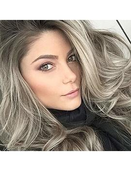 Pinkshow Ash Blonde Lace Front Wigs Long Wavy Synthetic Wigs For Women Dark Root Ombre Blonde Silk And Thick Free Part Daily Party Heat Resistant Hair 24inch by Pinkshow