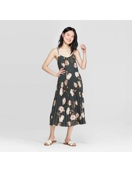 Women's Floral Print Sleeveless V Neck Maxi Dress  A New Day Brown by Neck Maxi Dress