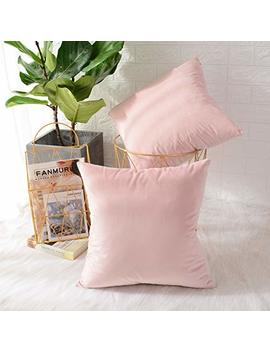 Mernette Pack Of 2, Velvet Soft Decorative Square Throw Pillow Cover Cushion Covers Pillow Case, Home Decor Decorations For Sofa Couch Bed Chair 20x20 Inch/50x50 Cm (Velvet Light Pink) by Mernette