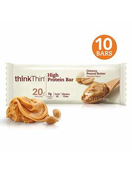 Think! (Think Thin) High Protein Bars   Creamy Peanut Butter, 20g Protein, 0g Sugar, No Artificial Sweeteners, Gluten Free, Gmo Free*, 2.1 Oz Bar (10 Count   Packaging May Vary)) by Think Thin