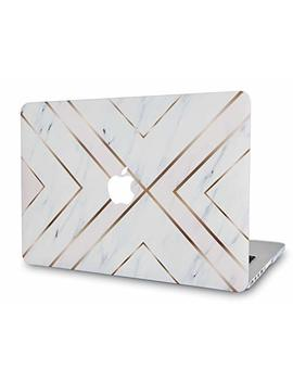 "Luv Case Rubberized Soft Touch Plastic Hard Shell Case Cover Compatible Mac Book Old Pro 13"" Case Retina A1502 / A1425, Released 2015/2014/2013/End 2012 (White Marble Gold Stripes) by Luv Case"