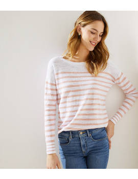 Petite Striped Shirttail Sweater by Loft