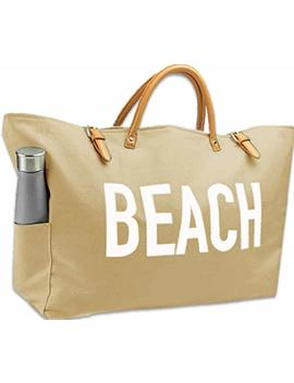 Keho Large Canvas Beach Bag Travel Tote (Warm Sand), Waterproof Lining, 2 Drink Holders, Pockets, Free Phone Case by Keho