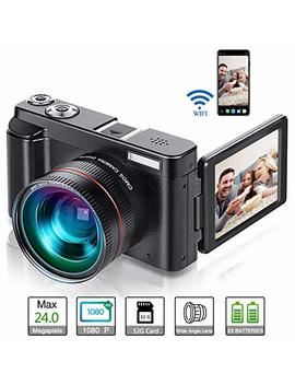 Vlogging Camera, Video Camcorder Full Hd 1080p 24 Mp Digital Camera Wifi Youtube Camera Camcorder With 32 Gb Card, Wide Angle Lens, 180 Degree Rotation Flip Screen, 16x Digital Zoom (Two Batteries) (P1) by Pybbo