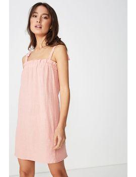 Woven Sammy Straight Neck Mini Dress by Cotton On