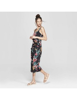 Women's Floral Print Strappy Tie Front Cropped Knit Jumpsuit   Xhilaration by Xhilaration