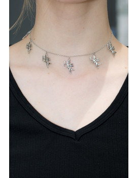 Silver Angel Charm Choker by Brandy Melville