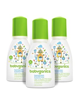 Babyganics Foaming Dish And Bottle Soap, Fragrance Free, On The Go 100ml, 3.38 Oz.  (Pack Of 3), Packaging May Vary by Babyganics