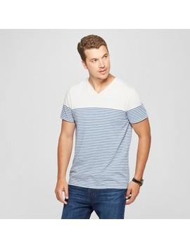 Men's Standard Fit Short Sleeve V Neck T Shirt   Goodfellow &Amp; Co Riviera Blue by Neck T
