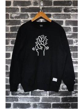 Keith Haring Sweatshirt Vtg Black Cross Finger Spell Out Print Symbolic Art 80s Street Artist Street Wear/Artist Wear/Graffiti Gang Size M by Etsy